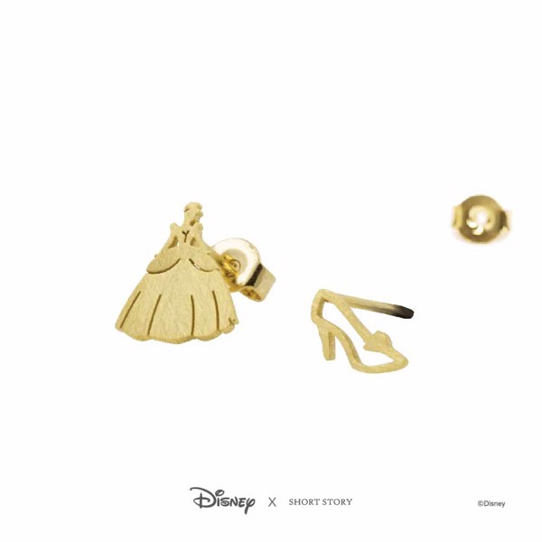 Disney - Cinderella & Glass Slipper Short Story Gold Stud Earrings - Packshot 3