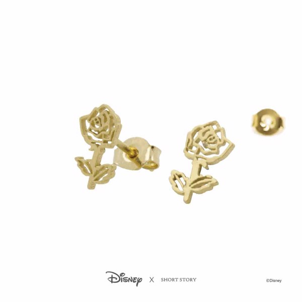 Disney - Beauty and the Beast - Rose Short Story Gold Stud Earring - Packshot 3