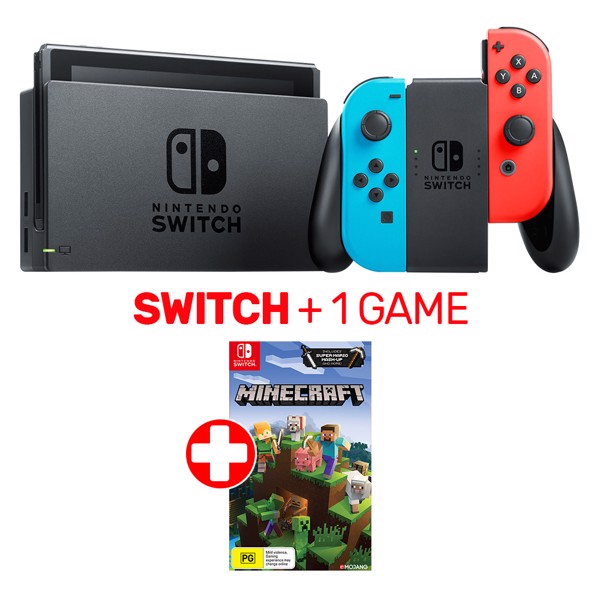 Neon Nintendo Switch Console + Minecraft - Packshot 1