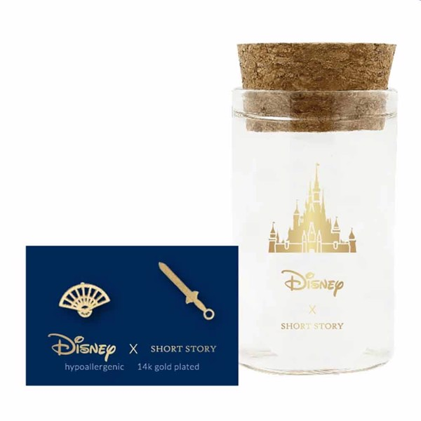 Disney - Mulan - Fan & Sword Short Story Gold Stud Earrings - Packshot 1