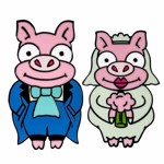 The Simpsons - Pig Bride & Groom Cufflinks Replica - Packshot 2