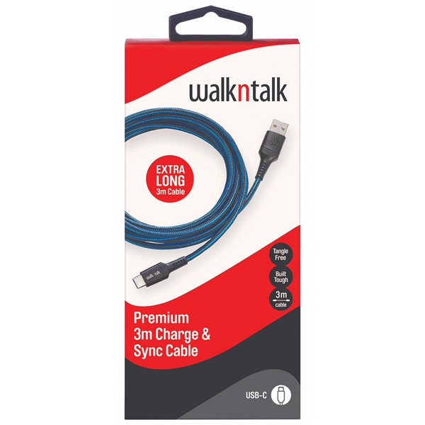 WalknTalk - 3m Charge & Sync USB-C Cable - Blue - Packshot 1