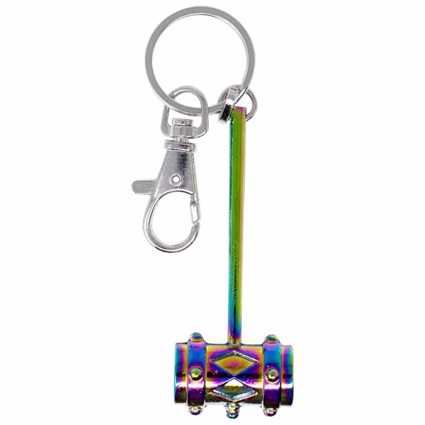 DC Comics - Birds of Prey - Harley Quinn's Mallet Keychain with Rainbow Metallic Finish - Packshot 1