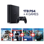 PlayStation 4 1TB Jet Black Console + 4 Games - Packshot 1