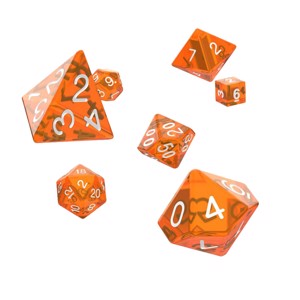 Oakie Dokie - Orange Translucent RPG Dice 7-Set