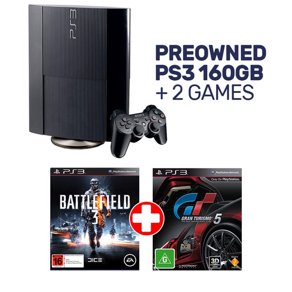 Preowned PlayStation 3 160GB Slim + 2 Preowned Games - Packshot 1