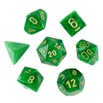 Chessex - Vortex Green with Gold 7-Die Set - Packshot 1
