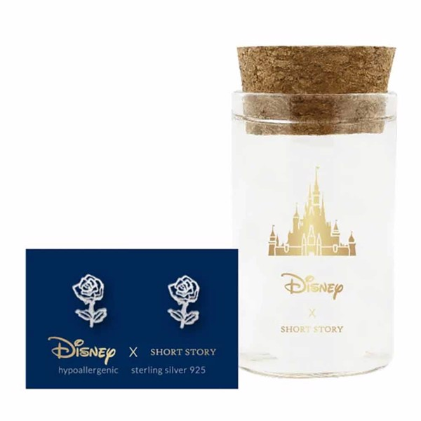 Disney - Beauty and the Beast - Rose Short Story Silver Stud Earring - Packshot 1