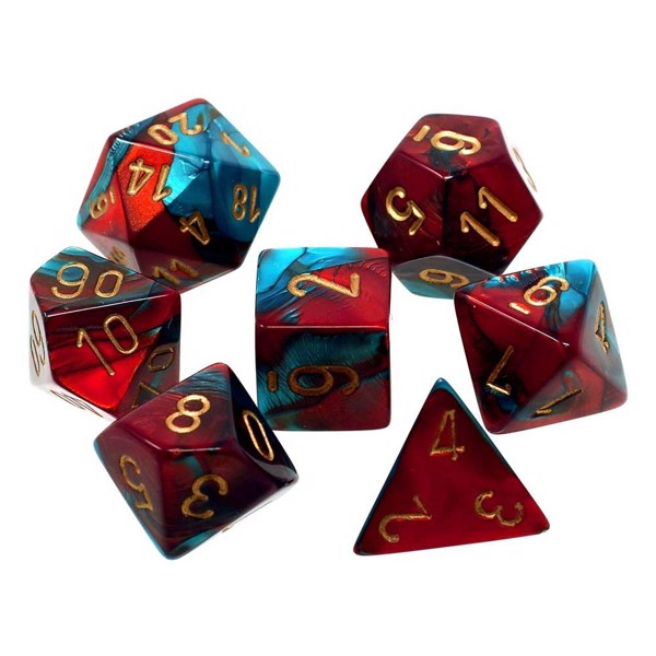 Chessex - Polyhedral 7-Die Gemini Dice Set Red and Teal with Gold Numbers - Packshot 1