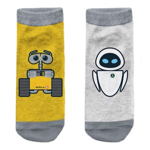Disney - Pixar - Wall-E  and Eve Yellow and Grey Socks