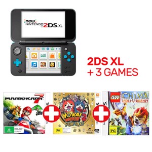 Nintendo New 2DS XL Blue & Black Console + 3 Games
