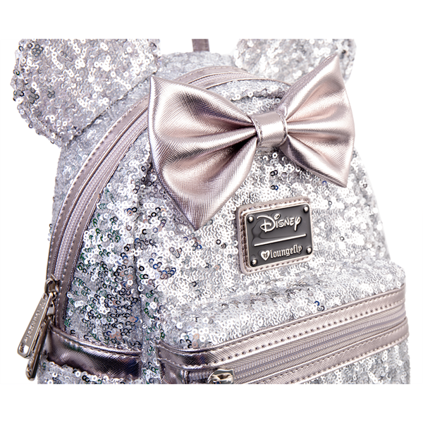 Disney Minnie Ears Bow Sequin Silver Loungefly Mini Backpack