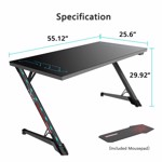 Eureka Ergonomic Z1G-PG1 Gaming Desk With RGB Lights - Glass Desktop - Packshot 4