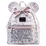 Disney - Minnie Ears & Bow Sequin Silver Loungefly Mini Backpack - Packshot 1