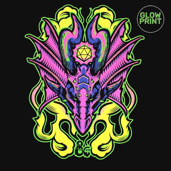 Dungeons & Dragons - Blacklight Dragon Glow in The Dark T-Shirt - Packshot 3