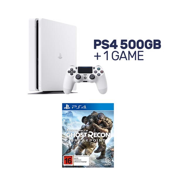 PlayStation 4 500GB Glacier White Console + 1 Game - Packshot 1