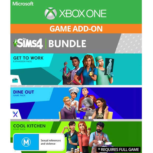 The Sims 4 Bundle - Get to Work, Dine Out, Cool Kitchen Stuff (Game Add-On) - Packshot 1