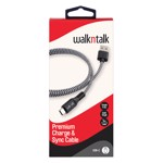 WalknTalk - Premium USB-C Charge & Sync Cable 1M - Black / White - Packshot 1