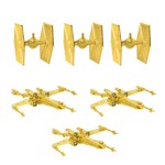 Star Wars - Gold Tie fighters and X-wings 6 Pack Holiday Decorations - Packshot 2