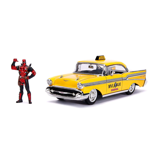Marvel - Deadpool - Chevrolet Bel Air Yellow Taxi & Deadpool Diecast Figure - Packshot 1