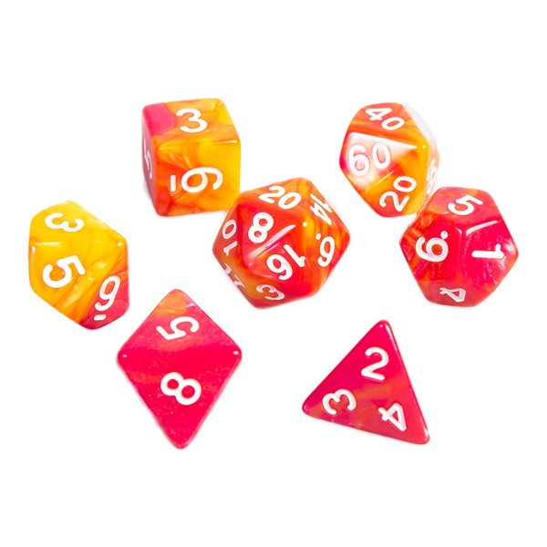 Double Colour Red RPG Dice 7-Set - Packshot 1