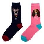 Disney - Lady and the Tramp - Pink Lady and Navy Tramp Socks - Packshot 1