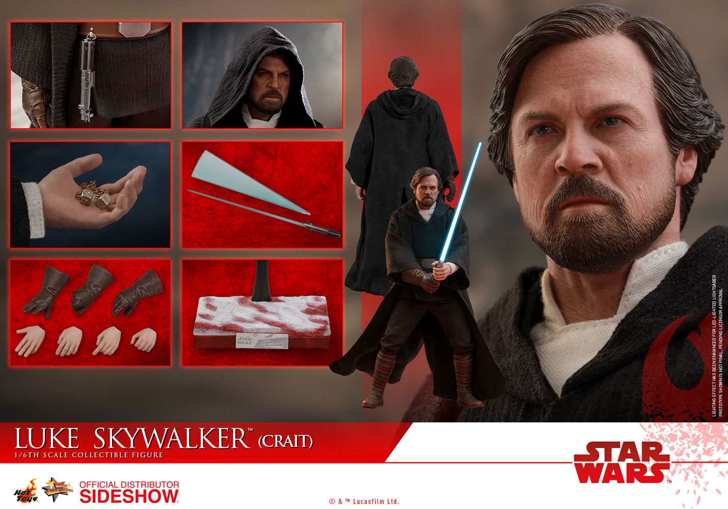 Star Wars - Episode VIII - Luke Skywalker (Crait) 1/6 Scale Collectible Figure - Screenshot 6